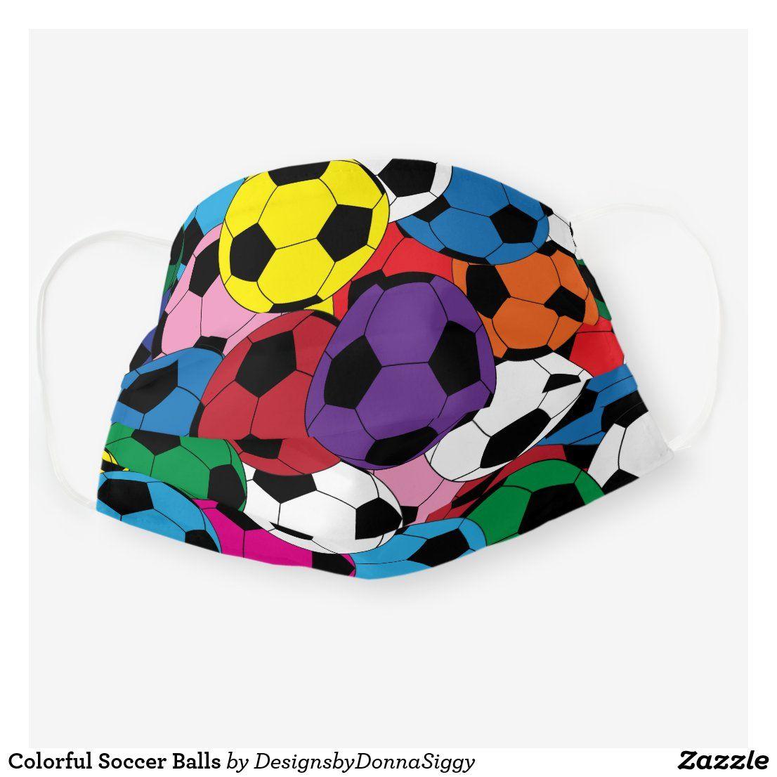 Colorful Soccer Balls Cloth Face Mask Zazzle Com In 2020 Soccer Balls Face Mask Gifts For Sports Fans