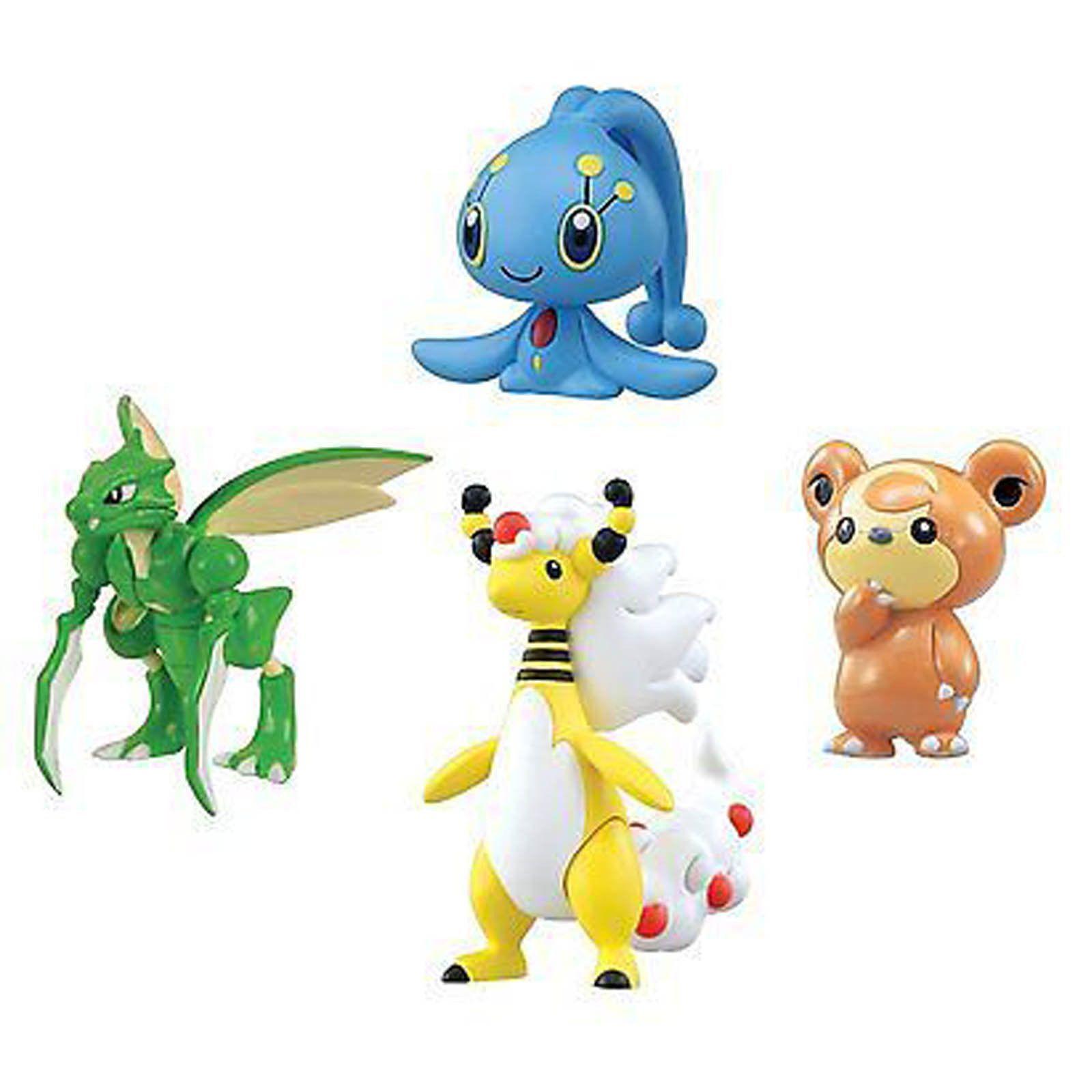 Pokemon XY Mega Ampharos Manaphy Teddiursa Scyther 4 Pack Mini Figures