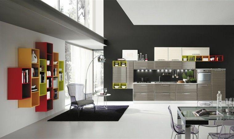 Cocinas modernas completamente equipadas | Muebles de color gris ...