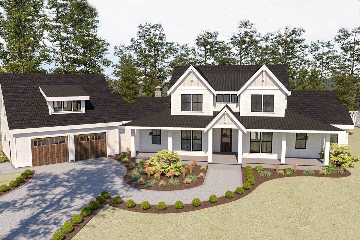 Plan 280023JWD: Beautiful 5-Bed Modern Farmhouse Plan with Angled 2-Car Garage #buildingahouse