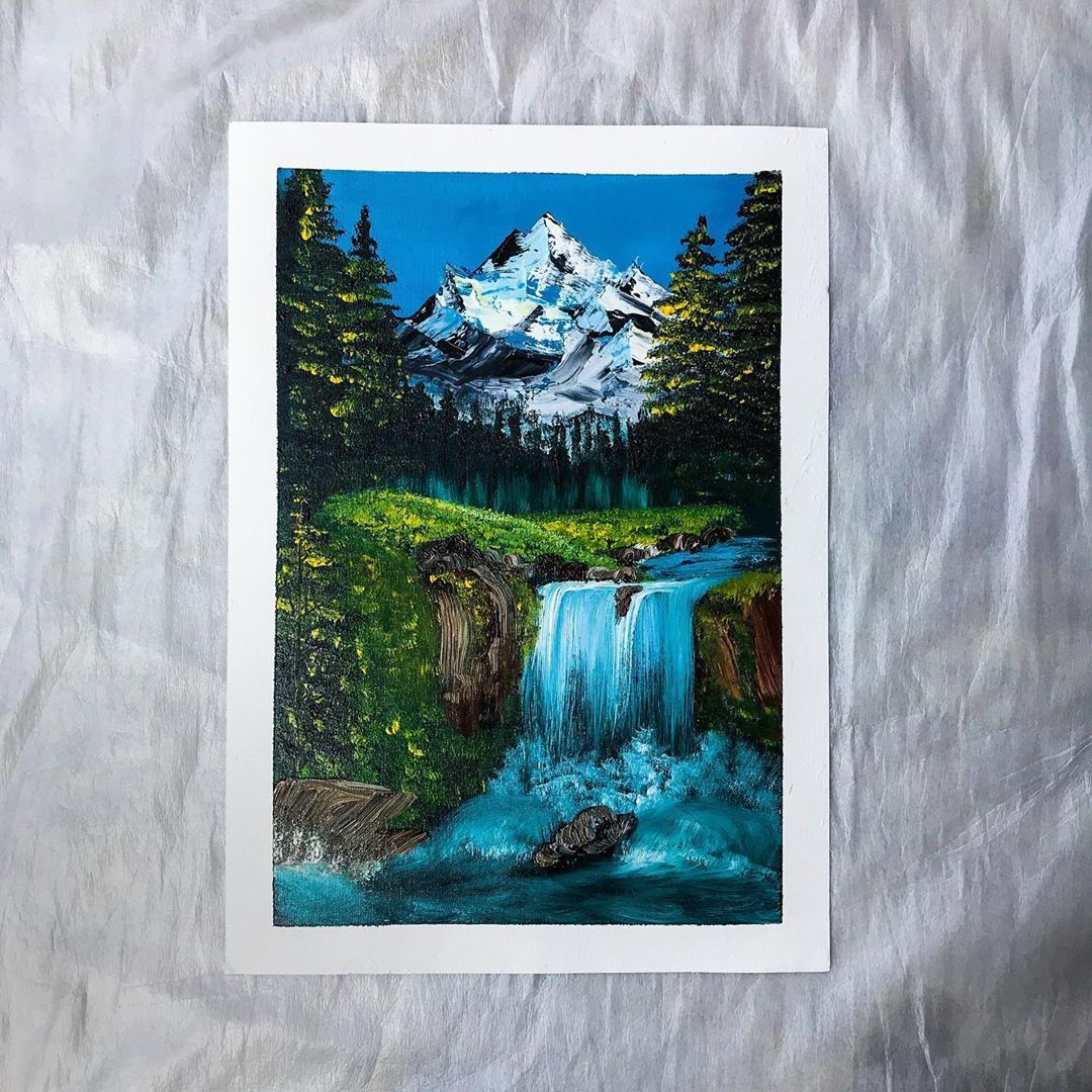 Mansi Tyagi Artist Shared A Photo On Instagram Series Title Cascade Painting 3 3 And How Can I Not Paint Mountains Mountain Paintings Painting Artist