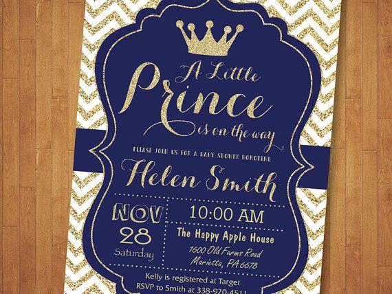 Invitación De La Ducha De Bebé De Príncipe Azul Y Oro