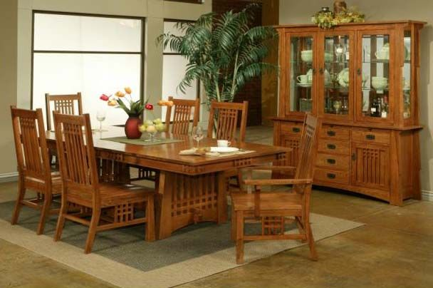 Bungalow Mission Solid Oak Dining Table W/ Chairs