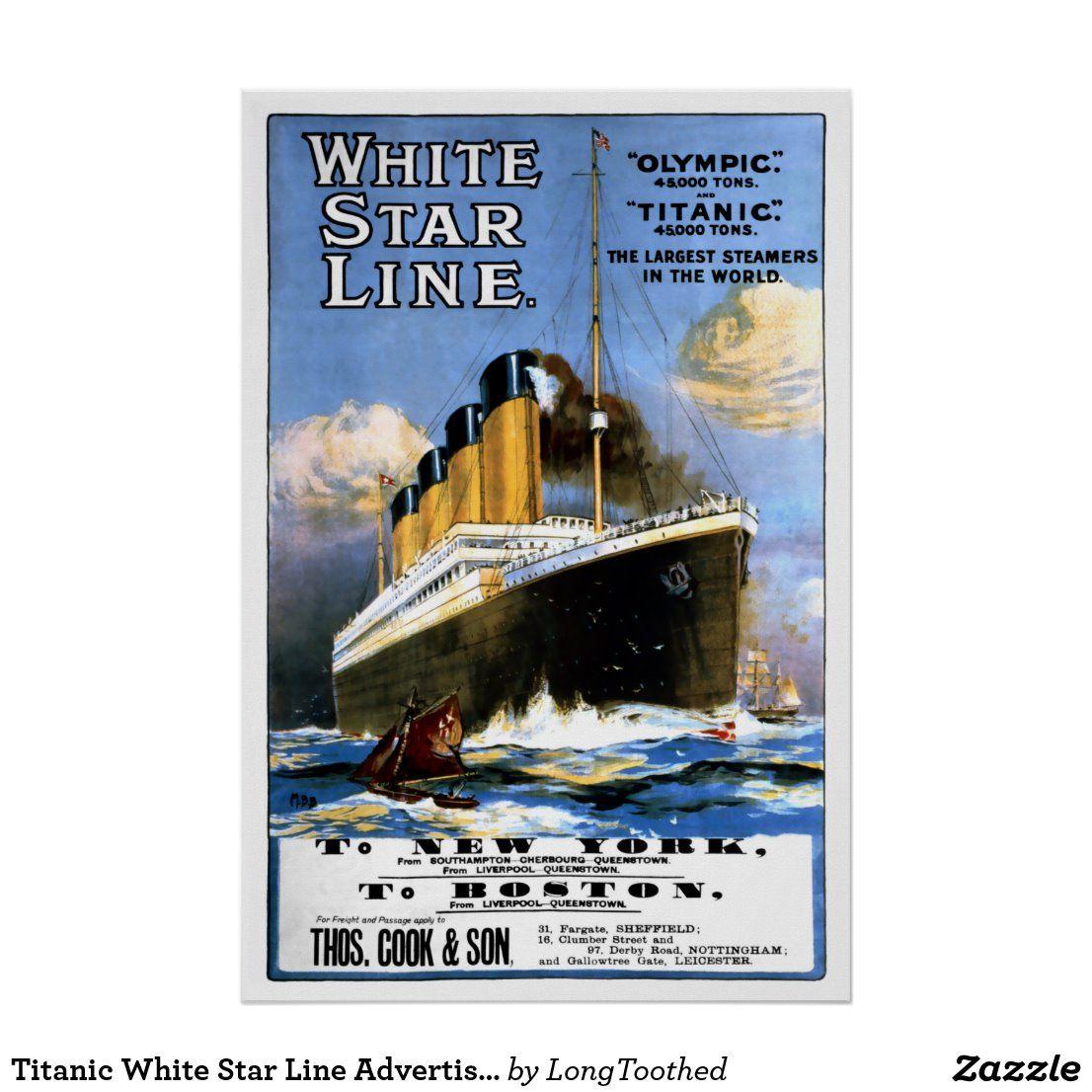 Titanic White Star Line Advertisement Poster | Zazzle.com ...