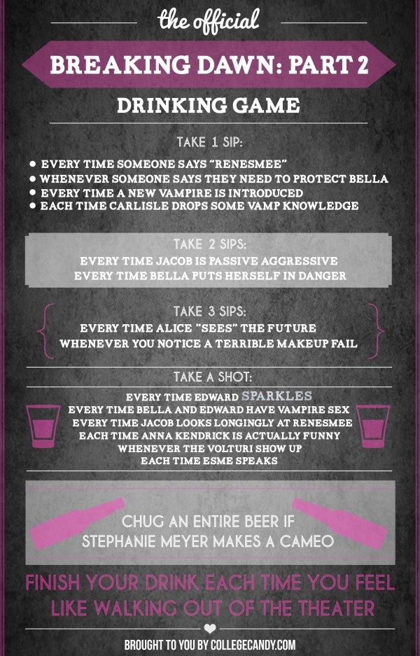 The Official Breaking Dawn Part 2 Drinking Game Infographic Drinking Games Tv Show Drinking Games Movie Drinking Games