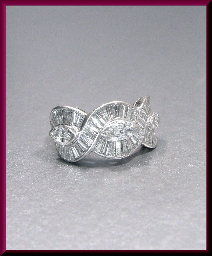 Vintage Platinum Marquis and Baguette Wedding Band Wedding Ring by AntiqueJewelryNyc on Etsy https://www.etsy.com/listing/289104771/vintage-platinum-marquis-and-baguette