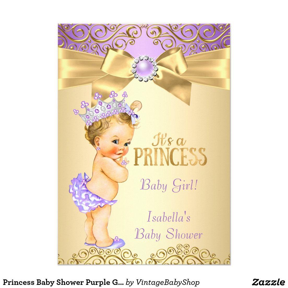 Princess Baby Shower Purple Gold Damask Blonde 5x7 Paper Invitation ...