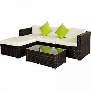 Outsunny 5pc Rattan Conservatory Furniture Garden Corner Sofa Outdoor - Grey (Parasol Not Included) -