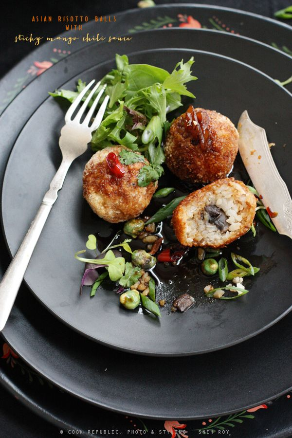 Asian Risotto Balls With Sticky Mango Chili Sauce [via cook republic]