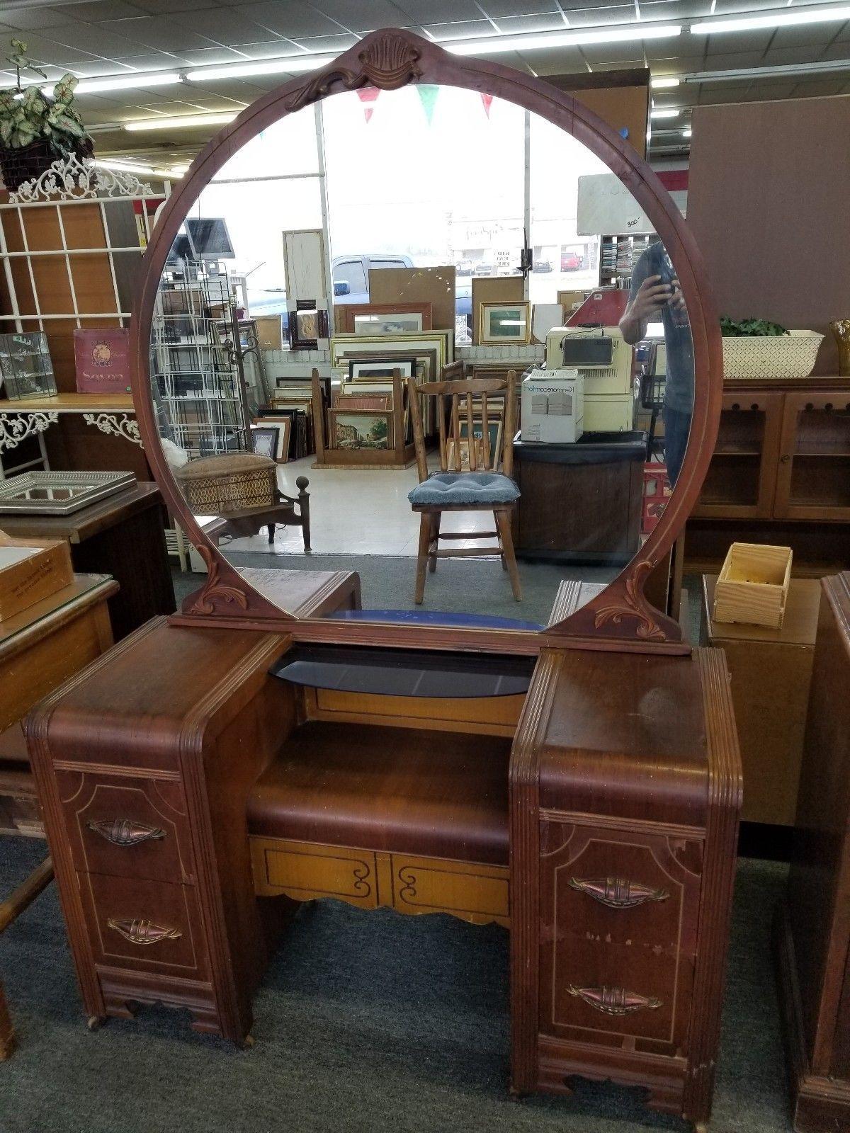 Details about Antique Vintage 4 Drawer Vanity Dresser Desk