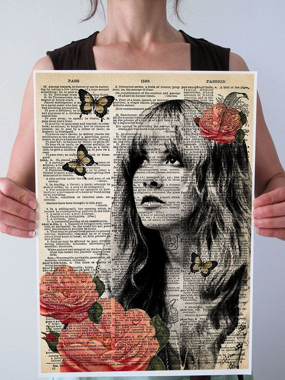 Stevie Nicks Portrait Dictionary Art Print Book Page Picture Wall Hanging Poster