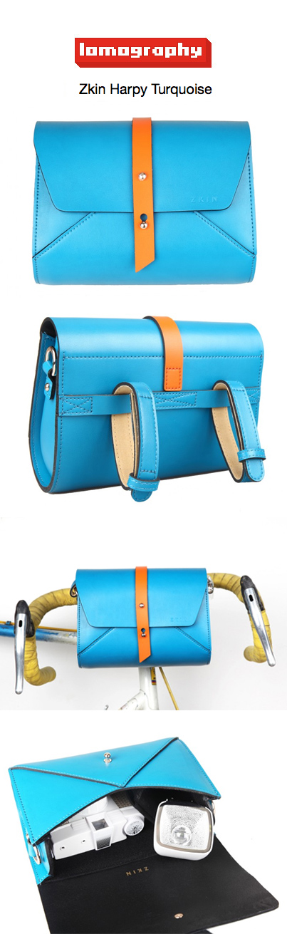 Saddle your bike and take your camera for a safe ride in the ZKIN Harpy bag!  US$170.00 http://shop.lomography.com/us/harpy-turquoise
