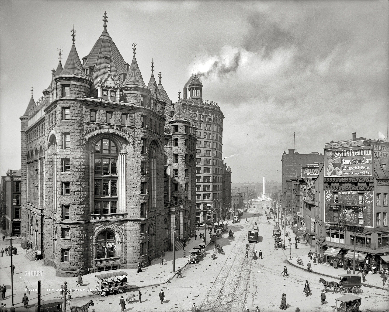 Bustling Buffalo New York Circa 1908 Erie County Savings Bank