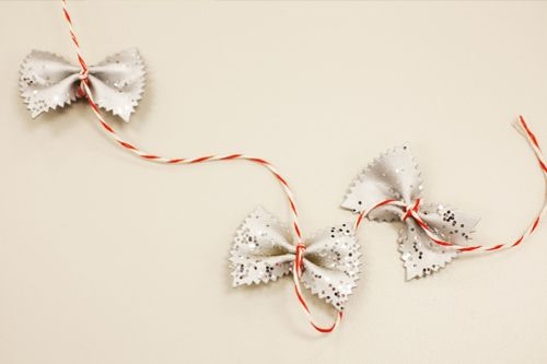 Bowtie Pasta Garland Or Gift Ribbon | 51 Hopelessly Adorable DIY Christmas  Decorations