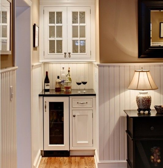 Great Use Of A Small Pace A Little Wine Fridge And Bar Area Tucked Into A Small Area Home Bars For Home Small Bar Areas