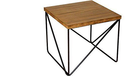 Donregaloweb Beistelltisch Quadratisch Aus Holz Und Metall In Schwarz Holz Holz Und Metall Tisch Holz