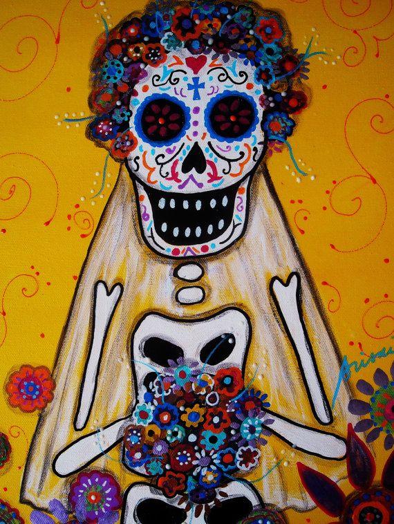 Dia de los Muertos BRIDE Skull Mexican Painting PRINT by prisarts, $12.00
