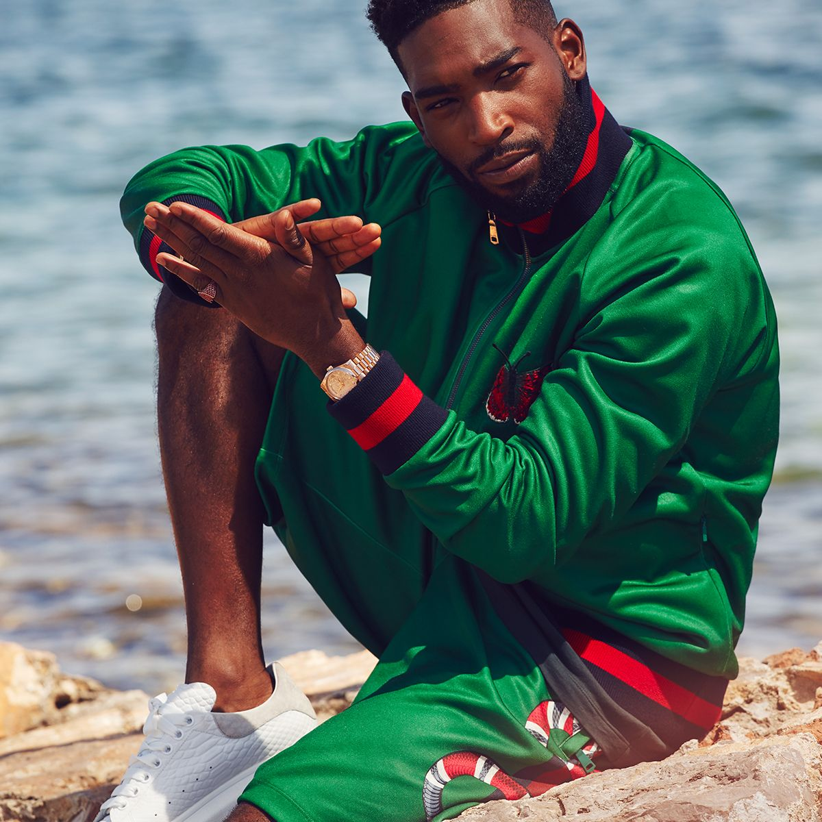 UK rapper Tinie Tempah for MR PORTER wearing Gucci Tech ...