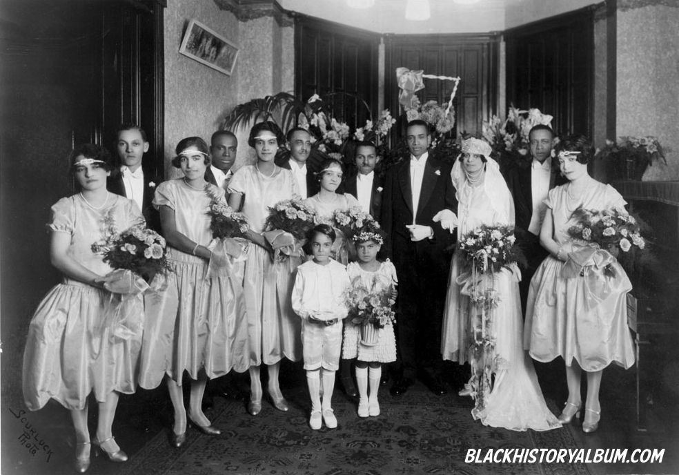 American Wedding Group.The Wedding Party 1928 An African American Wedding Party Group