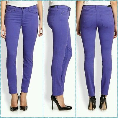 NEW! Ag Adriano Goldschmied Prima Mid Rise Cigarette Leg Size 27 Purple Womens Jeans