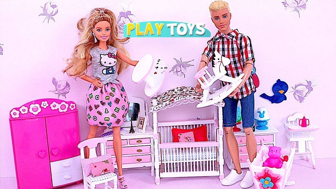Barbie And Ken Set Up Baby Doll Bed Room For Chelsea And Sister