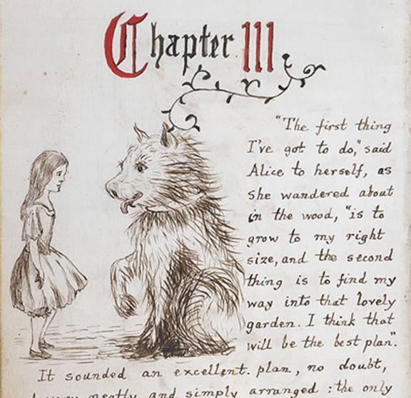 the original Lewis Carroll manuscript of Alice in Wonderland with ...
