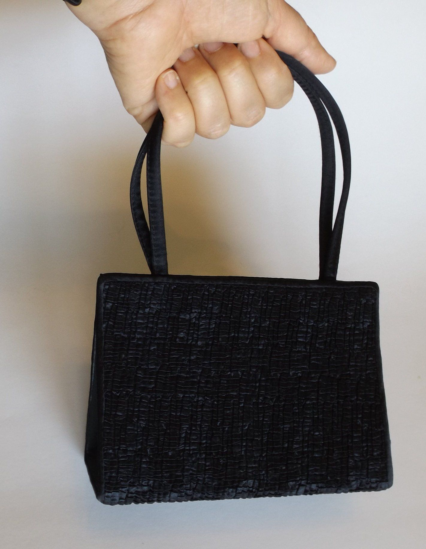 Vintage Black Purse Handbag Accessory Clothing Small Dressy Minimalist Elegant Evening By Dianasjoy On