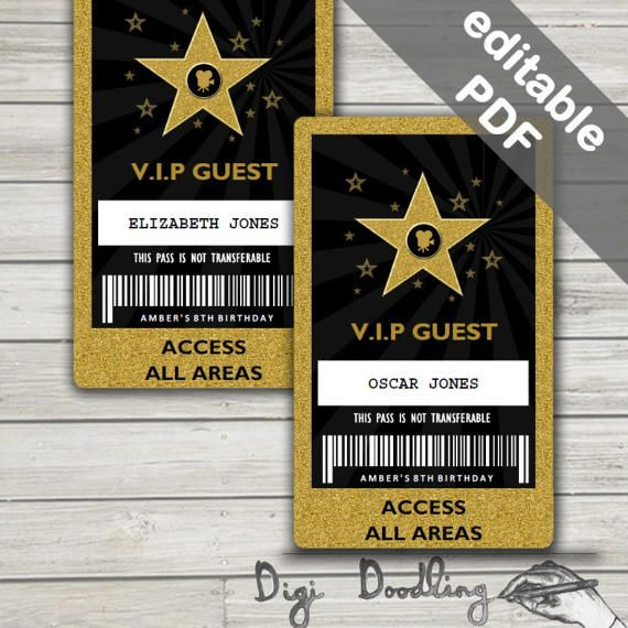 Hollywood Party Vip Pass Hollywood Vip Badge Editable