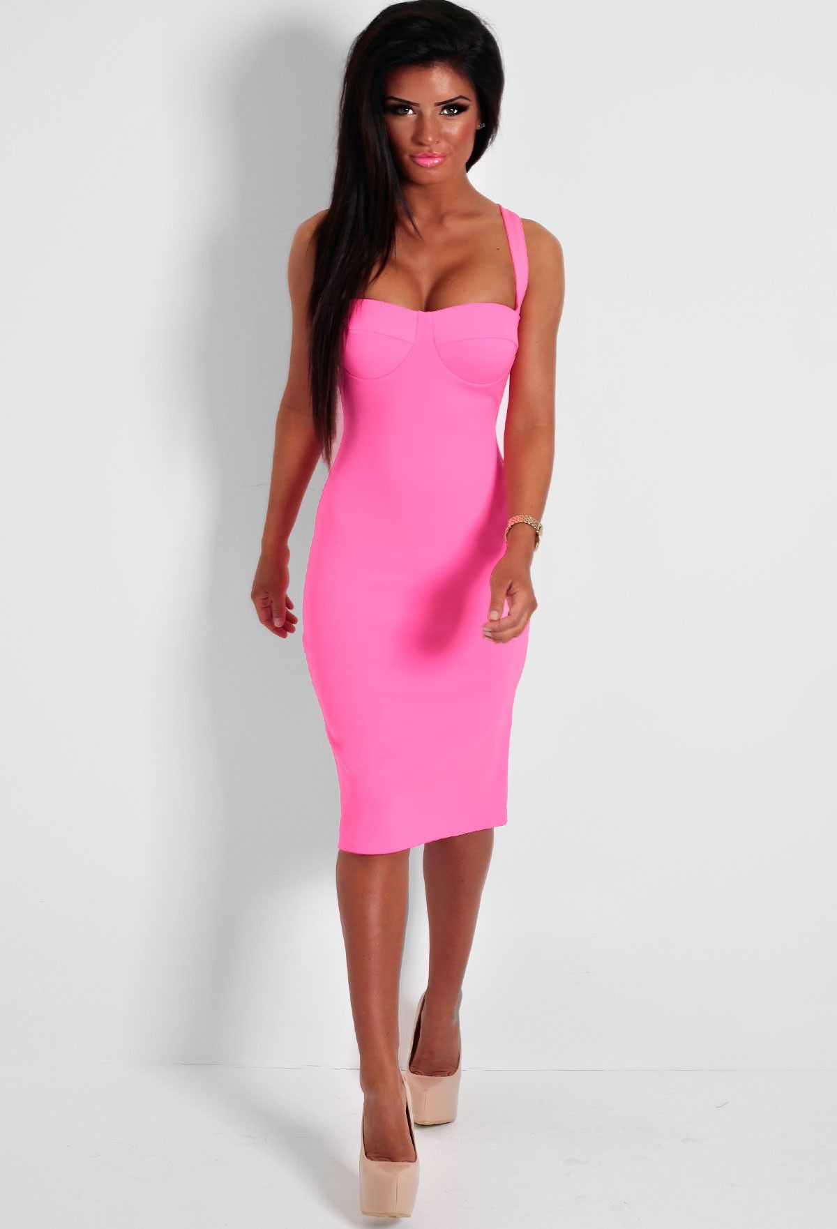 This Pink Bodycon Midi Is Amazing We Love Bright Fashion Here At Pink Boutique And Think It Looks Gorgeous Pink Bodycon Midi Dress Fashion Midi Dress Bodycon