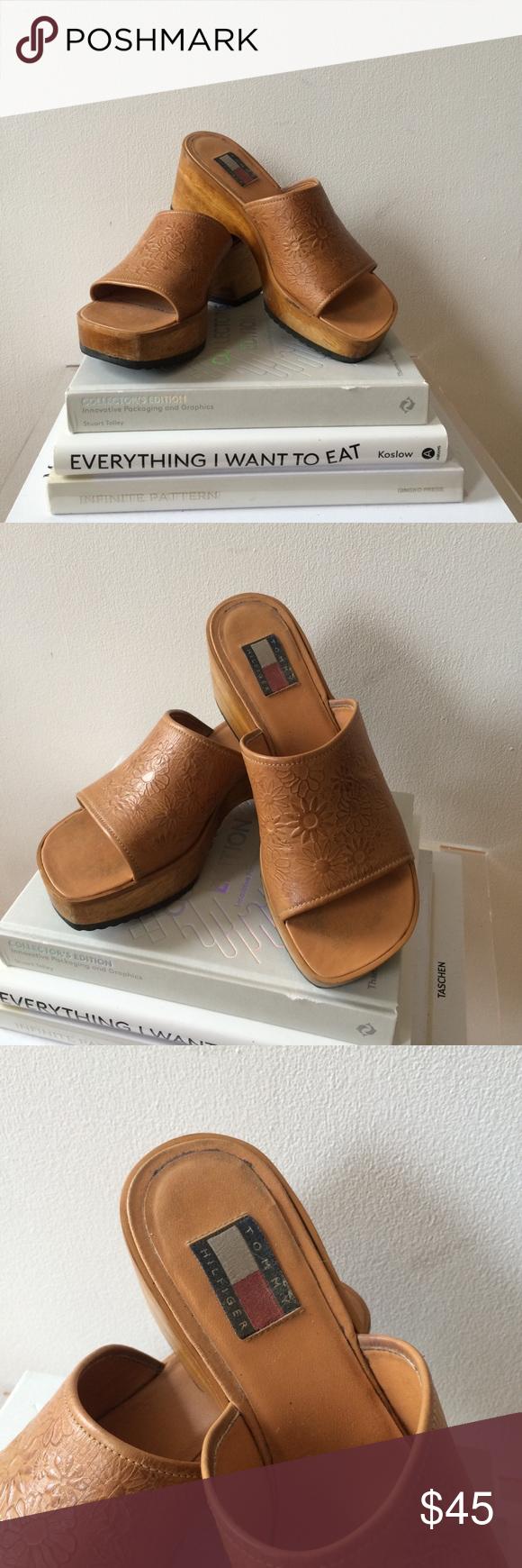 82cbf99c6847a5 Vintage Tommy Hilfiger Clogs AMAZING vintage Tommy Hilfiger clog sandals  with a wooden sole