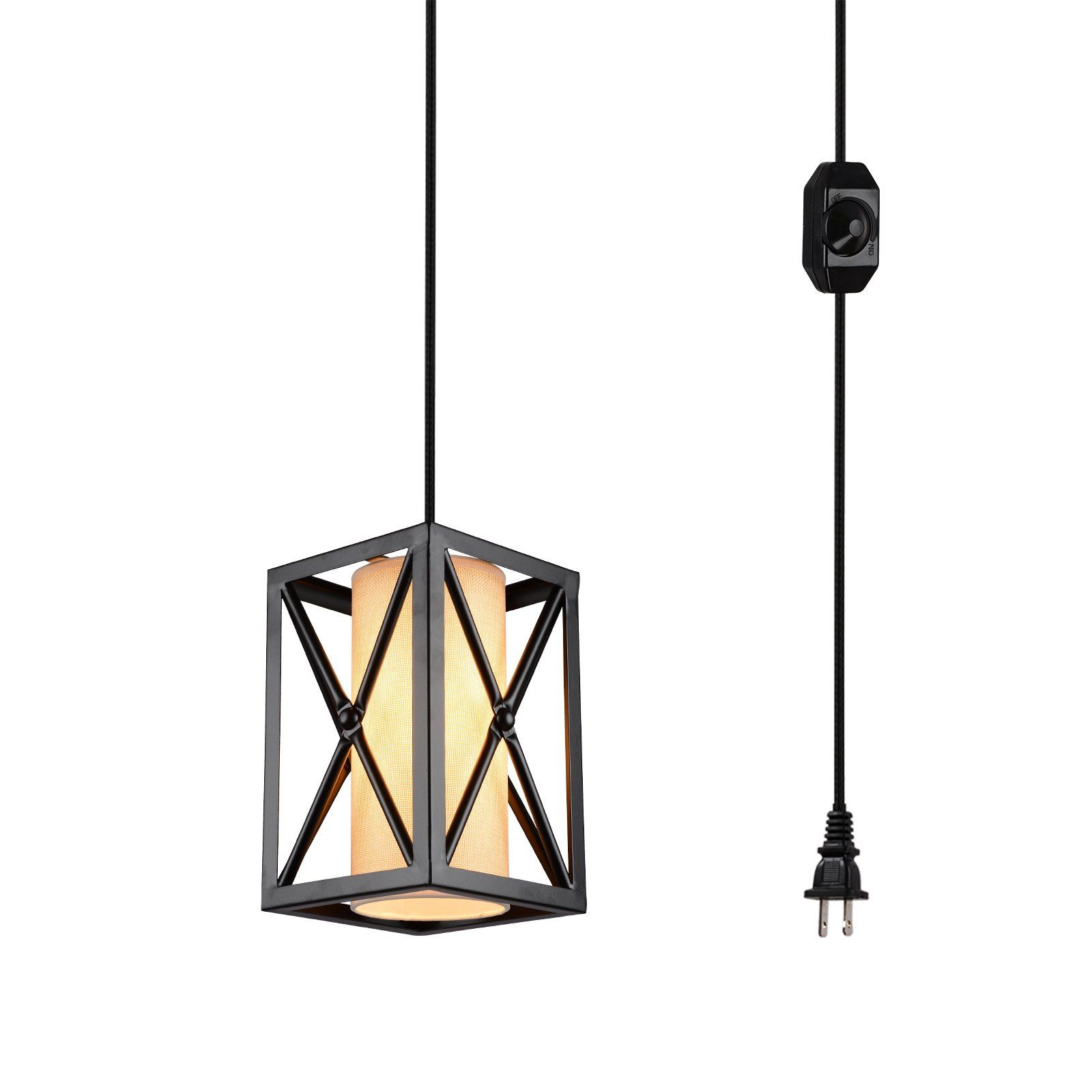 HMVPL Plug In Industrial Pendant Light With Linen Lamp Shade 15 Ft Hanging Cord