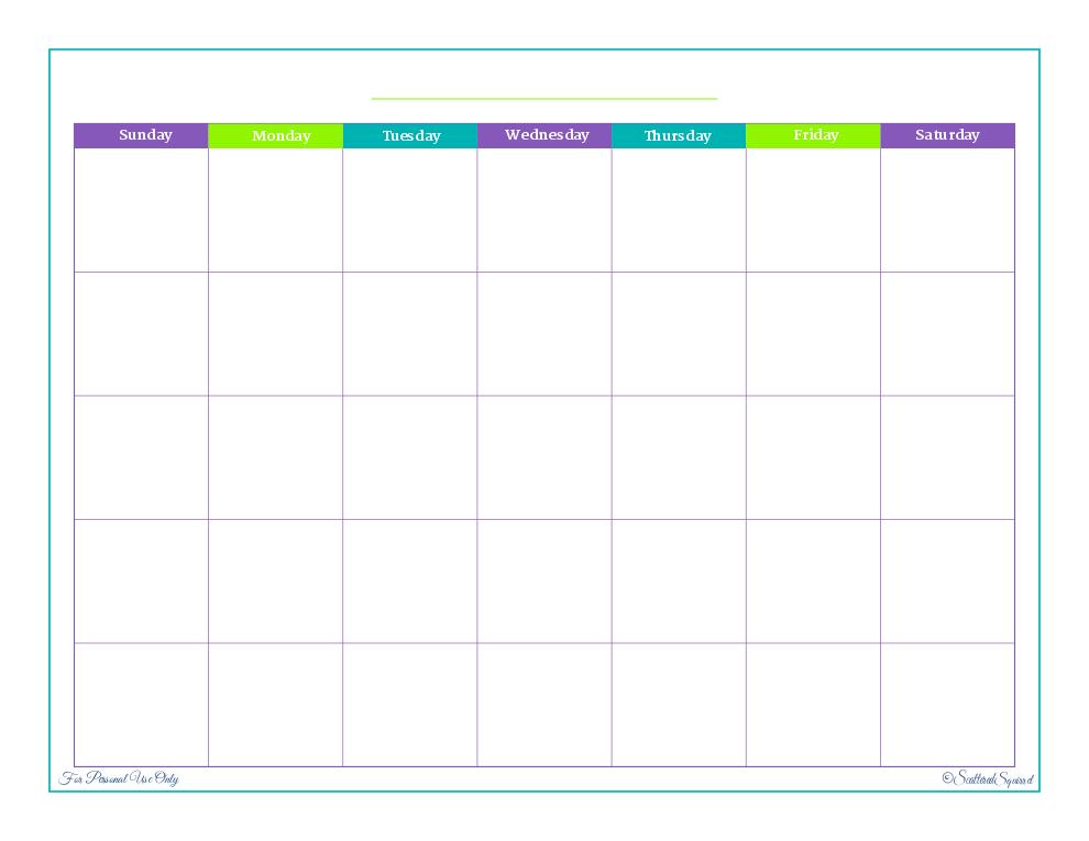 Printable Palooza And Farewell Blogger  Blank Calendar Calendar