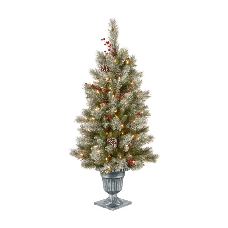 National Tree Company 4 ft Pre Lit Snowy Bristle Berry Entrance