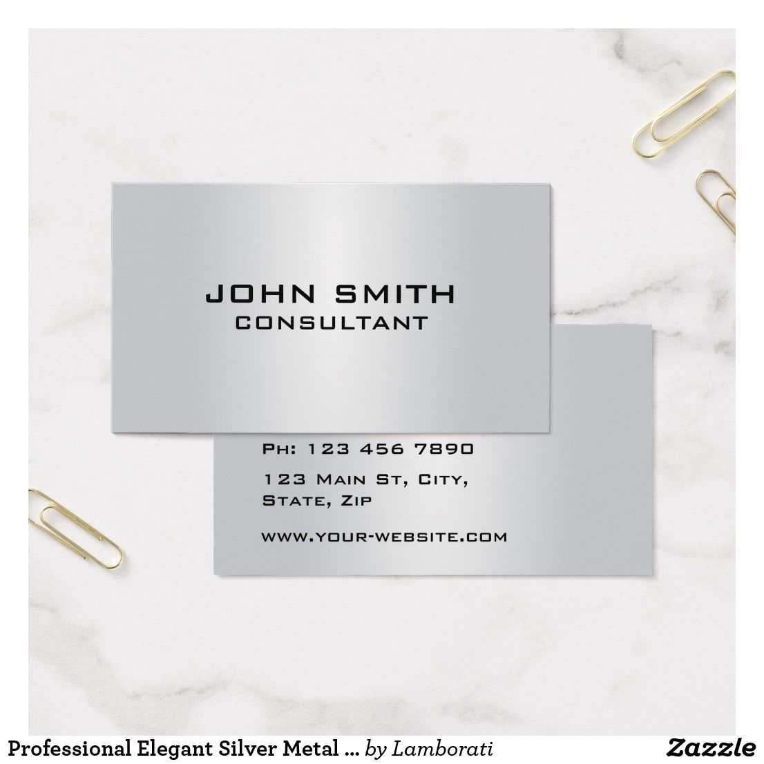 Professional elegant silver metal plain modern business card professional elegant silver metal plain modern business card reheart Gallery