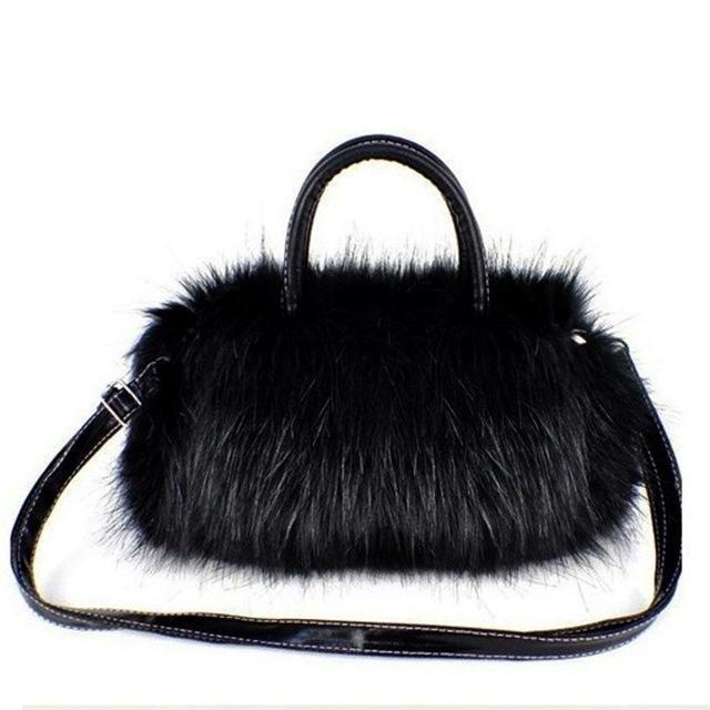 992bd2fa3e Faux Rabbit Small Messenger Bag. FGGS Winter Lady Girl Pretty Cute Lovely Plush  Fur Hairy Handbag Luxury Designer Shoulder ...