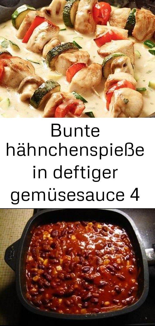 Bunte hähnchenspieße in deftiger gemüsesauce 4 Wie wäre es mit einem deftigen Gericht zum Abendessen Dann schmecken dir die bunten Hähnchenspie&...