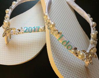 Shanna Personalized Bridal Flip Flops Starfish Custom I Do