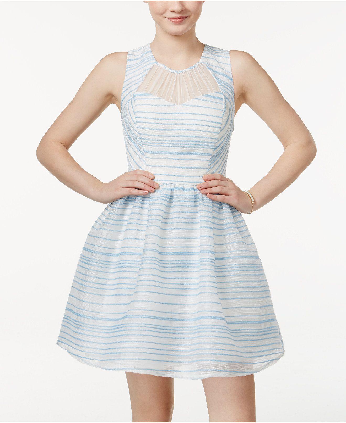 City Studios Juniors Sleeveless Striped Fit Amp Flare Dress