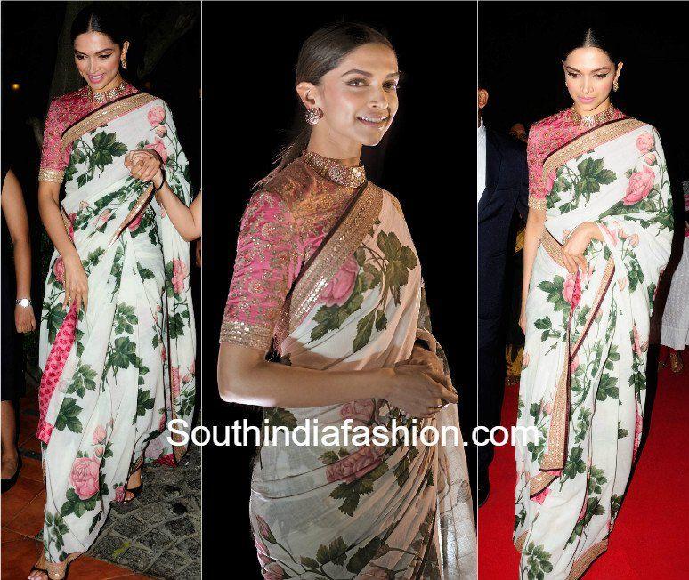 292834700ec90c Deepika Padukone in floral Sabyasachi saree CNBC India Business Leader  Awards