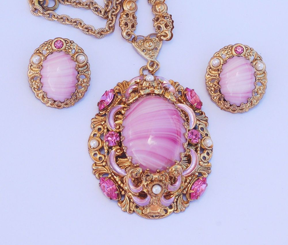 West germany pink rhinestone glass pendant necklace earring set