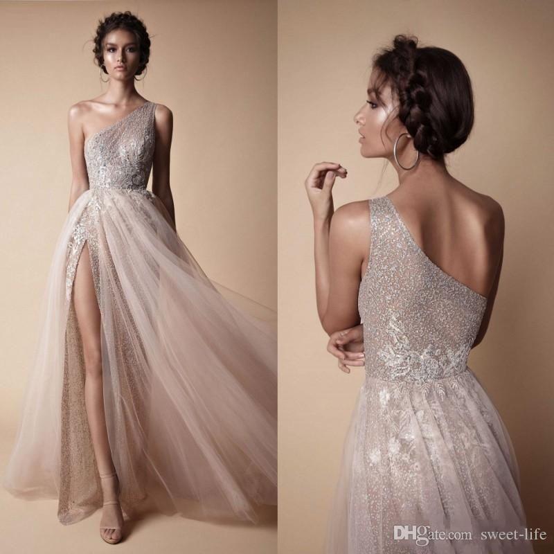 2019 的 Berta 2018 High Side Split Sequined Wedding Dresses