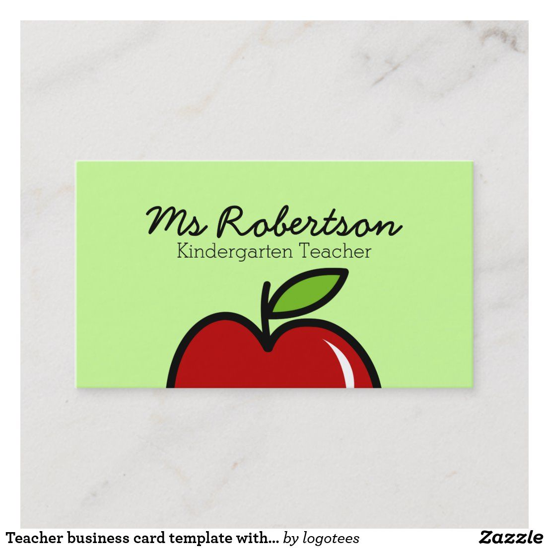 Teacher Business Card Template With Red Apple Zazzle Com Teacher Business Cards Business Card Template Card Template