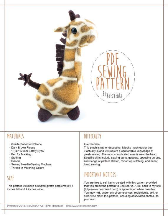 Pudgy Giraffe Stuffed Animal Sewing Pattern Plush Toy by BeeZeeArt ...