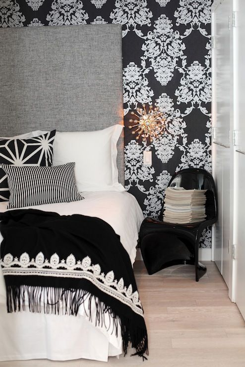 Best The Cross Decor Design Bedrooms Panton Chair Damask Wallpaper Black And White Wa 400 x 300