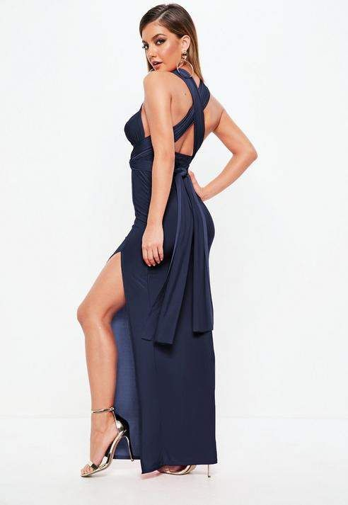 e7fddef7445 Missguided Navy Slinky Multiway Maxi Dress Missguided
