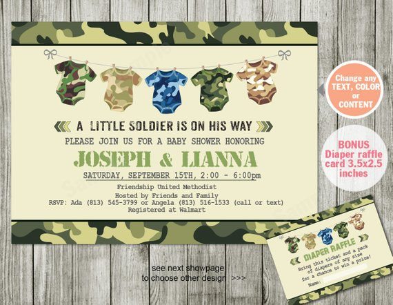 Solr Baby Shower Invitation Camouflage Military