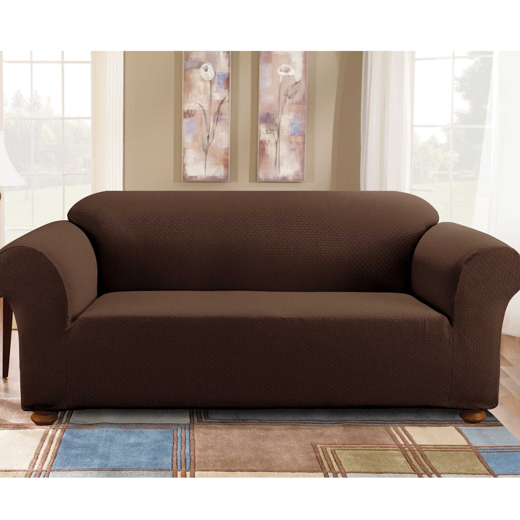 Sure Fit Simple Stretch Subway Tile 1Piece Sofa Slipcover in