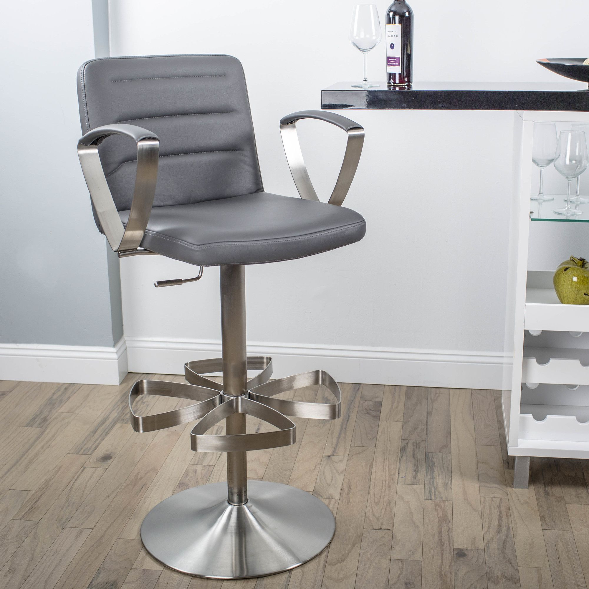 Rexx Adjustable Height Swivel Bar Stool With Cushion Adjustable Bar Stools Bar Stools Adjustable Stool