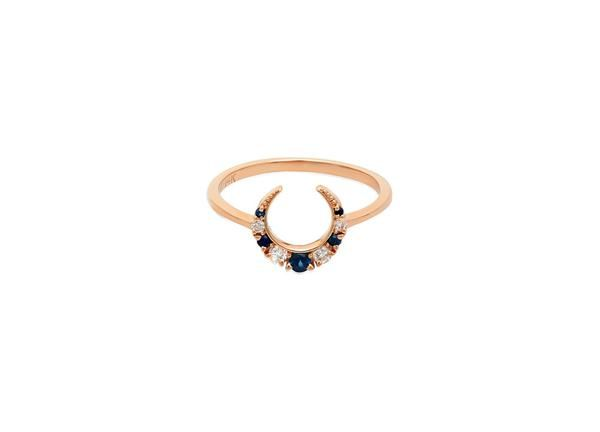 14K Yellow or Rose Gold Diamond and Sapphire crescent ring. A part of our signature Stone Fox Bride x Iconery collection. Diamond total weight = .10ct Approx