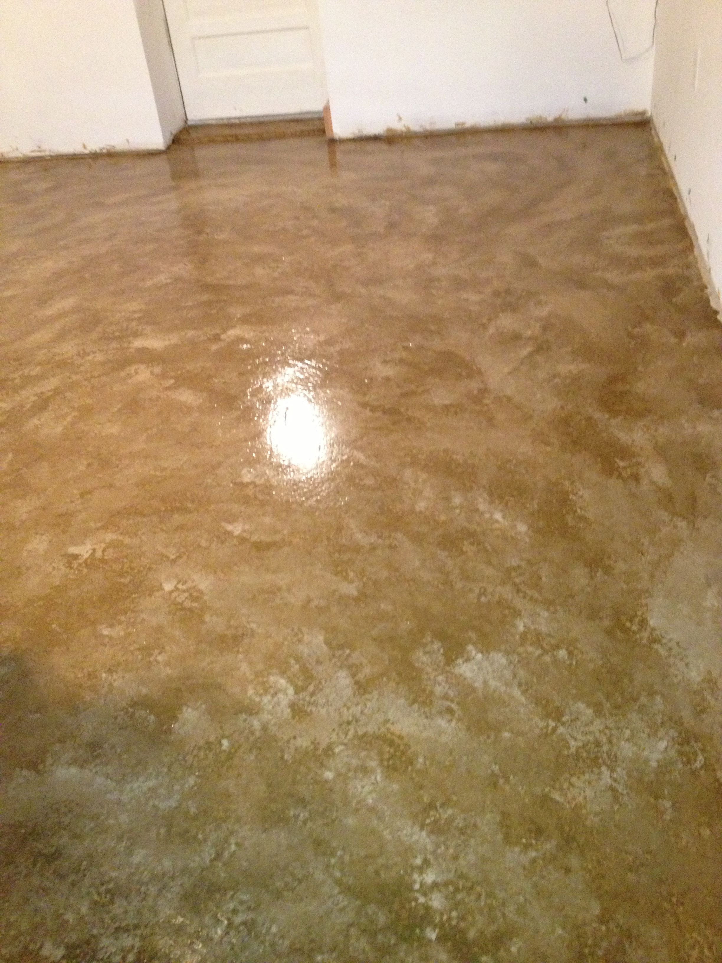 Painted Floor No Acid Stain We Primed The Concrete Closest To One Of Our Two Colors Took And Sponge Them Using Mostly
